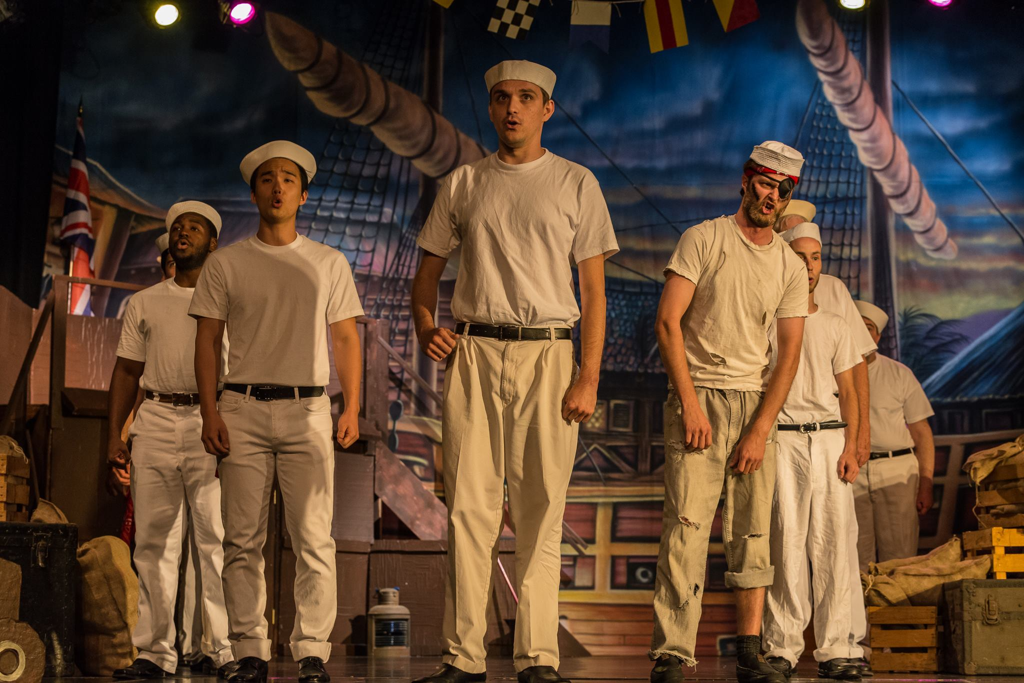 "Nick Fortin, center, and Justin Corbett, far left, in ""HMS Pinafore"""